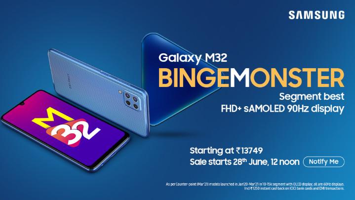 三星印度釋出 Galaxy M32,同樣有 6000毫安大電池和 25W 快充