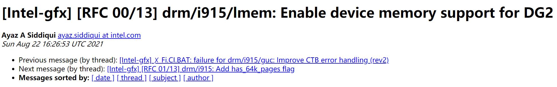 Linux 或將為 DG2 顯示卡提供獨立視訊記憶體